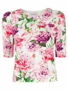 Laneus floral print fine knit T-shirt - White