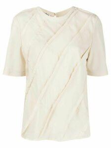 Acne Studios bias-cut patchwork blouse - NEUTRALS