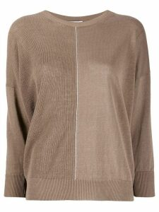 Peserico contrast panel sweater - NEUTRALS