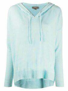 N.Peal chain trim cashmere hoodie - Blue