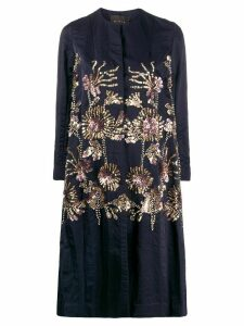 Biyan embroidered single-breasted coat - Blue