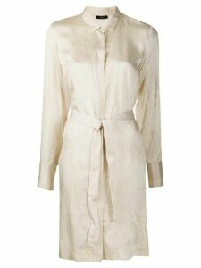 Peserico abstract-print belted shirt dress - NEUTRALS
