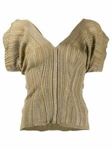 Chloé metallic-thread rib-knit top - GOLD