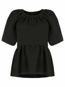 Goen.J peplum short-sleeve blouse - Black