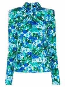 Richard Quinn floral-print fitted top - Blue