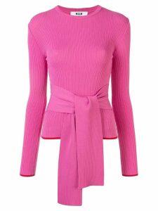 MSGM tie waist jumper - PINK