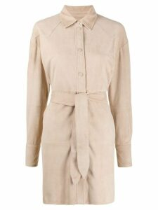 Arma Aviva suede shirt coat - NEUTRALS