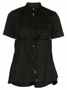 Sacai front-tie short sleeve shirt - Black