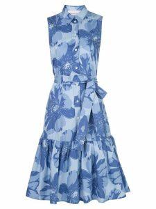 Carolina Herrera floral print ruffle shirt dress - Blue