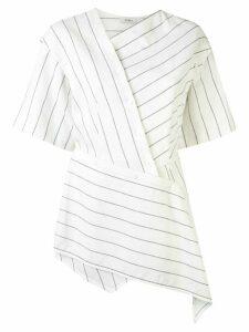 Goen.J asymmetric striped blouse - White