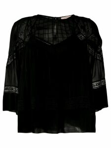 Twin-Set lace trimmed blouse - Black