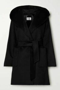 Max Mara - Rialto Hooded Belted Camel Hair Coat - Black
