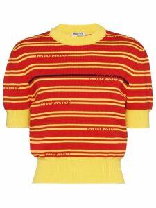 Miu Miu striped knitted top - Red