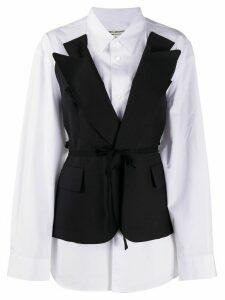 Junya Watanabe belted layered blazer shirt - Black