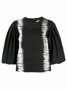 MSGM puff-sleeved tie-dye top - Black