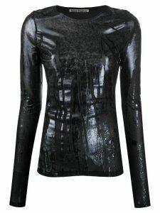 Acne Studios metallic-print long sleeve top - Black