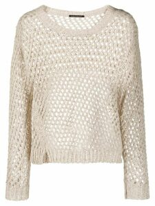 Luisa Cerano perforated knitted jumper - NEUTRALS