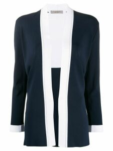 D.Exterior contrast-trimmed knitted cardigan - Blue
