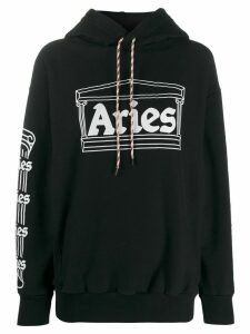 Aries temple logo print hoodie - Black