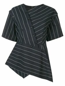 Goen.J asymmetric striped blouse - Blue