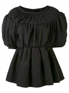 Goen.J balloon-sleeve peplum blouse - Black