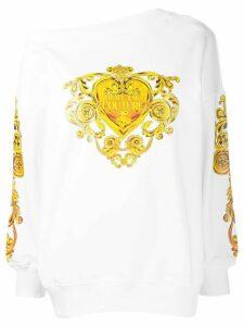 Versace Jeans Couture Baroque heart-print cotton sweatshirt - White