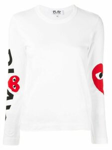 Comme Des Garçons Play logo-print crew neck top - White