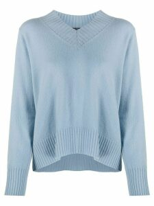 Luisa Cerano ribbed V-neck jumper - Blue