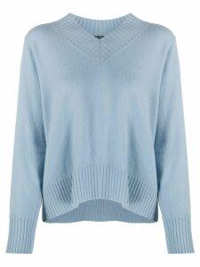 Luisa Cerano ribbed V-neck jumper - Blue