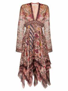 Etro mixed print dress - PINK