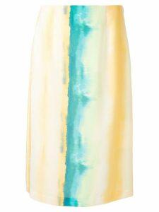 Goen.J Watercolor Gradient Striped midi skirt - Yellow