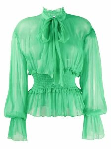 MSGM tie-neck smocked chiffon blouse - Green