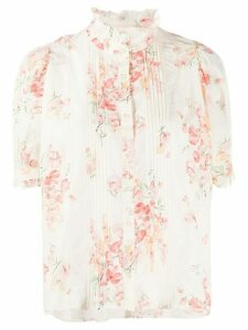 The Great. floral-print ruffled-neck blouse - PINK