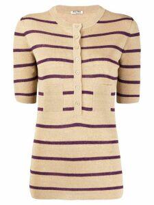 Miu Miu striped buttoned knitted top - NEUTRALS