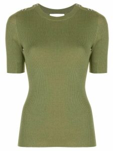 3.1 Phillip Lim SS PICOT STITCH TOP W SILVER DOME BUTTONS - Green