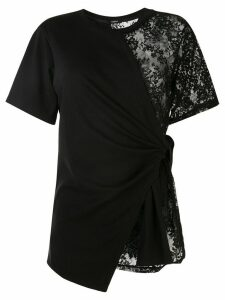 Goen.J lace detail wrap top - Black