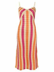 Suboo striped knit slip dress - ORANGE