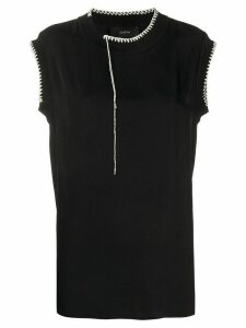 Joseph Bo Washed contrast-stitching blouse - Black