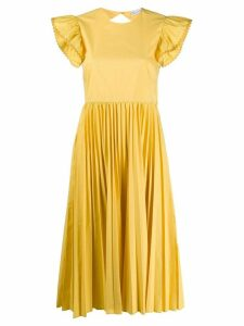 RedValentino pleated design dress - Yellow