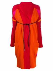 Sacai belted long-sleeve cardigan - Red