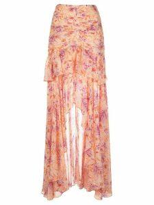 Amur silk floral print maxi skirt - PINK