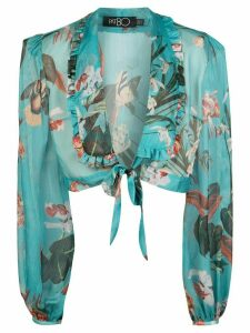Patbo plunge style cropped blouse - Blue