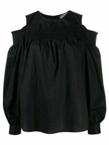 Twin-Set smocked ruffle-trimmed blouse - Black