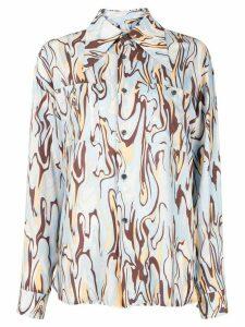 G.V.G.V. marble-print long-sleeve shirt - Blue