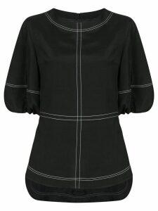 Goen.J topstitching puff-sleeves blouse - Black