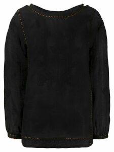 Vita Kin contrast stitching linen blouse - Black