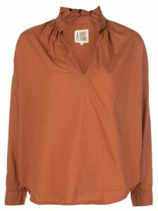 A Shirt Thing ruffled neck shirt - ORANGE