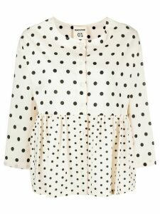 Semicouture collarless polka-dot shirt - NEUTRALS