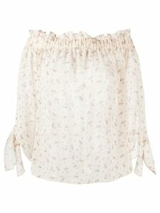 Semicouture floral-print sheer blouse - NEUTRALS