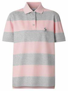 Burberry Deer motif striped polo shirt - PINK